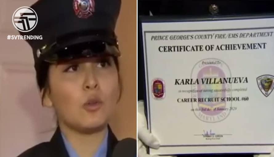 Salvadoreña se graduó como bombera con honores en Estados Unidos
