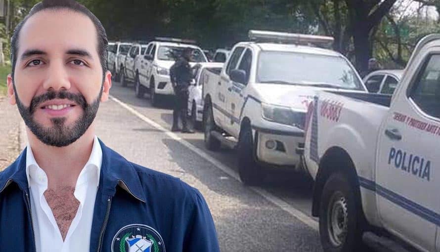Patrullas de la PNC se alistan para la entrega de canastas básicas para el pueblo salvadoreño