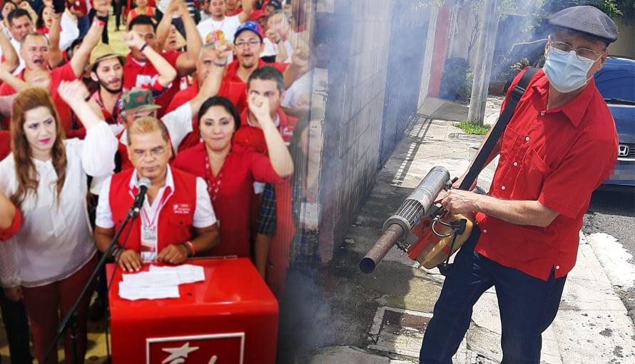 Diputado Damian Alegria del FMLN sale a fumigar para obtener votos en el 2021