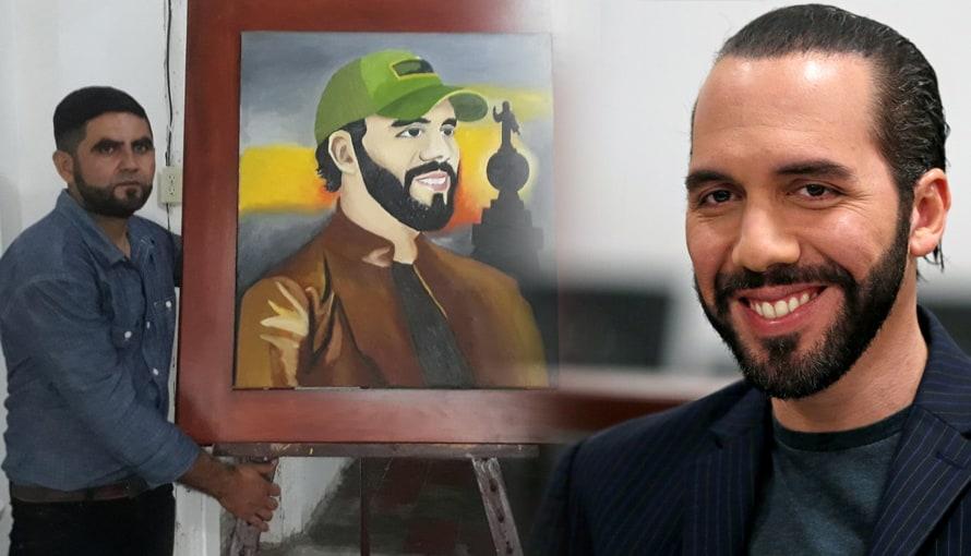 Joven salvadoreño busca darle un cuadro al presidente Bukele que elaboró con orgullo
