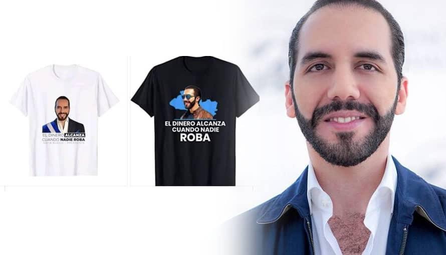 Hondureños venden camisas con la imagen del Presidente Bukele para recordarlo como héroe