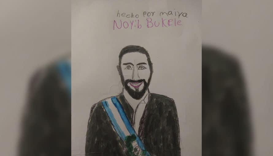 Niña hondureña elabora un dibujo del Presidente Bukele en agradecimiento a su solidaridad
