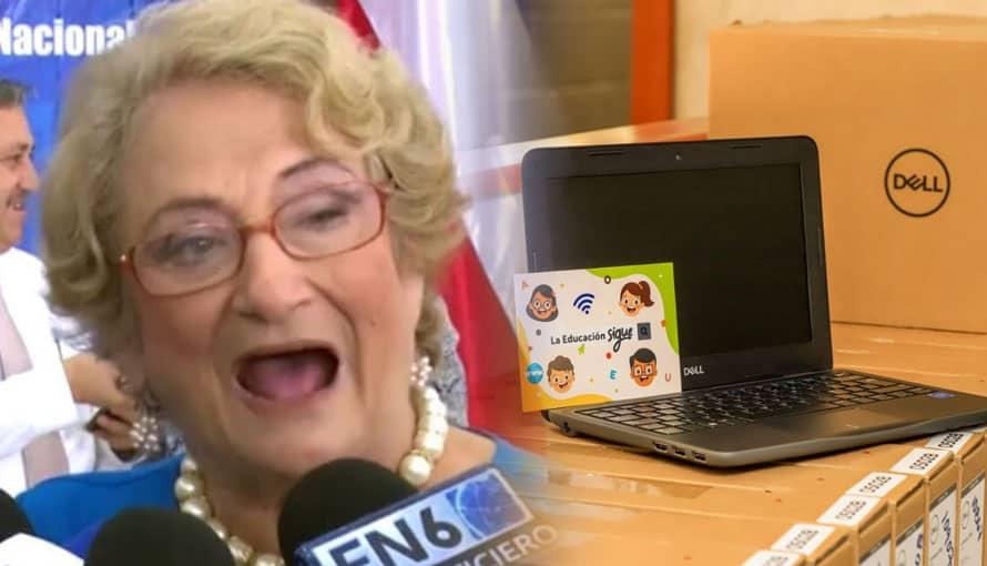 Milena de Escalón hace berrinche porque estudiantes ya cuentan con computadoras nuevas