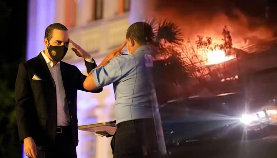 VIDEO: Gobierno de Bukele envía a bomberos para socavar fuerte incendio en MetroSur